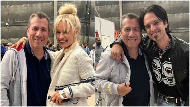 """Sound Mixer Juan Cisneros on the set of Hulu's minseries """"Pam and Tommy,"""" pictured with 'Pam' (Lily James) and 'Tommy' (Sebastian Stan.)"""