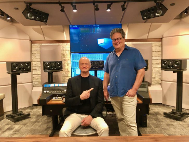 Studio designer Carl Tatz (seated) and Dolby Laboratories director of Content Dan Sperry in the new PhantomFocus MixRoom installed with a 9.1.4 Dolby Atmos sound system