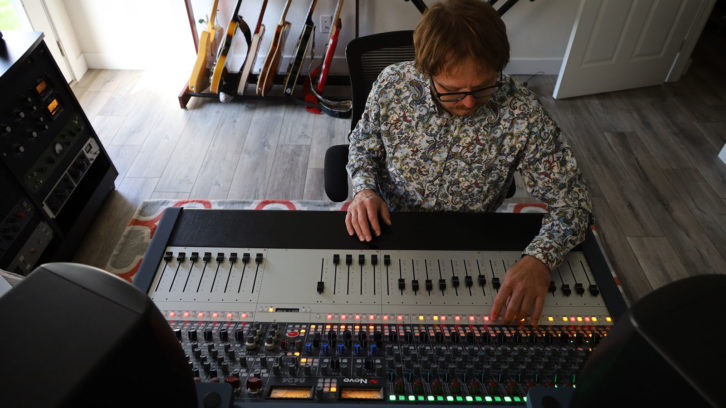 Producer and songwriter Brian Alston with his Neve console