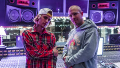 Gudwin, right, with Justin Bieber at Henson Studios during the making of 2021's smash album Justice.