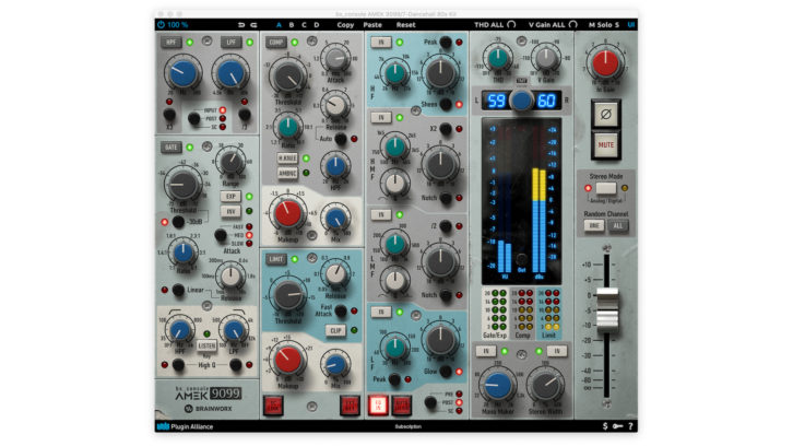 The Brainworx bx_console AMEK 9099 plug-in offers all the features of the 9098i console, along with some bonus materials.